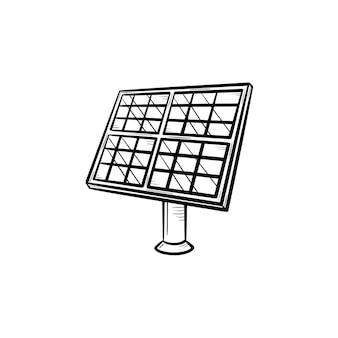 태양 전지 패널 산업 손으로 그린 개요 낙서 아이콘입니다. 재생 에너지 장비 - 흰색 배경에 고립 된 인쇄, 웹, 모바일 및 infographics에 대 한 태양 전지 패널 벡터 스케치 그림.