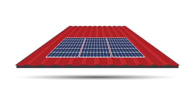 집 지붕에 있는 태양 전지판, 지속 가능한 자원의 개념, 벡터 일러스트레이션 디자인.