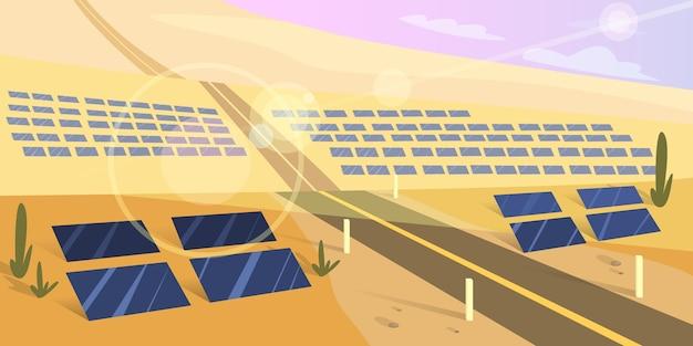 지상에 태양 전지판. 대체 에너지와 태양의 힘에 대한 아이디어. 사막에서 야외보기. 만화 스타일의 그림