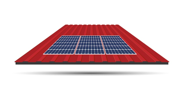 Solar panel on a roof of a house, concept of sustainable resources, vector illustration design.