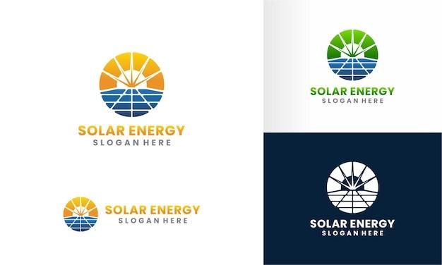 Solar panel and sun energy logo design template