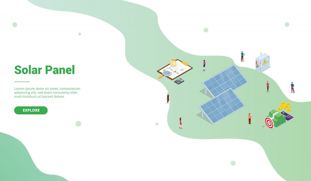 Solar panel technology business for website template or landing homepage with isometric style