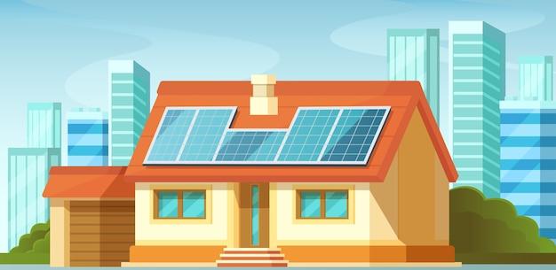 ソーラーパネル、代替エネルギー、民家の屋根の上。