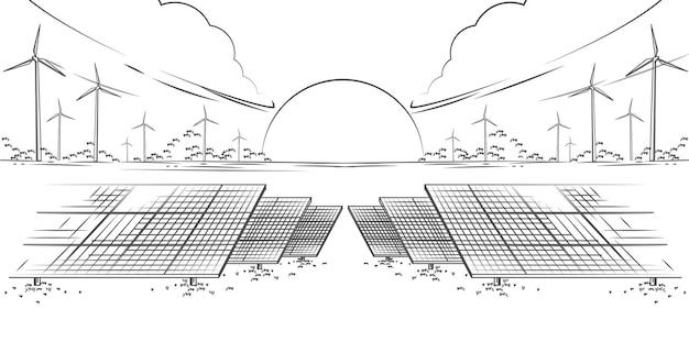 태양광 패널 및 풍력 터빈 또는 대체 에너지원 생태학적 지속 가능한 에너지