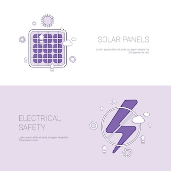 Solar panels and electricial safety concept template web banner with copy space