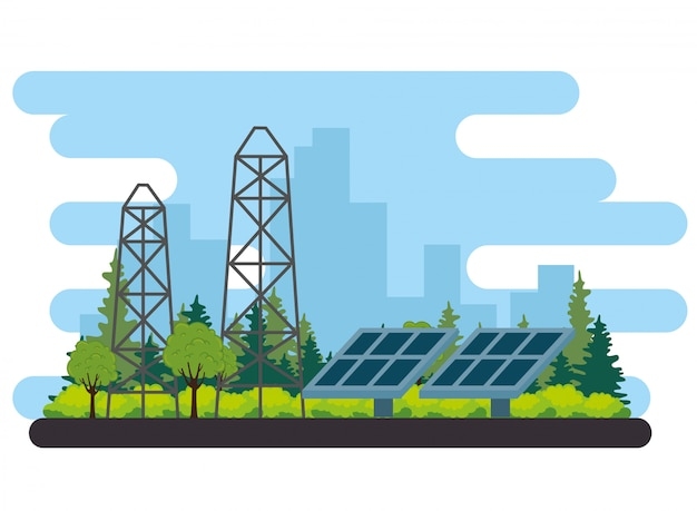 Solar panels energy alternative scene vector illustration design