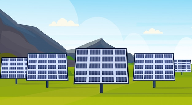 Solar panels field clean alternative energy source renewable station photovoltaic district concept natural landscape mountains background  horizontal