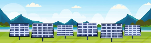 Solar panels field clean alternative energy source renewable station photovoltaic district concept natural landscape river mountains background  horizontal banner