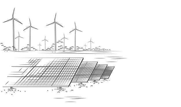 Solar panels and wind turbines or alternative sources of energy ecological sustainable energy