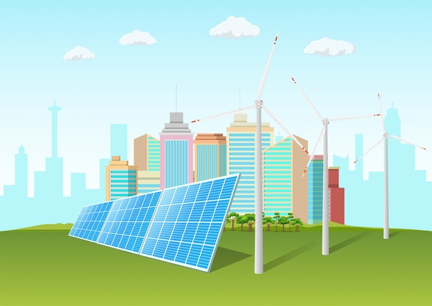 Solar panels and windmill in front of the city skyline