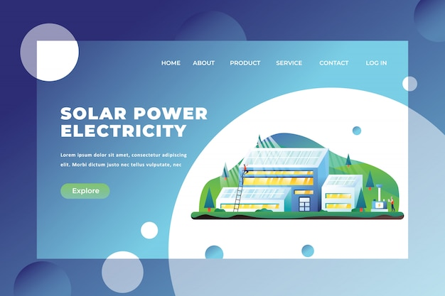 Solar power electricity landing page template