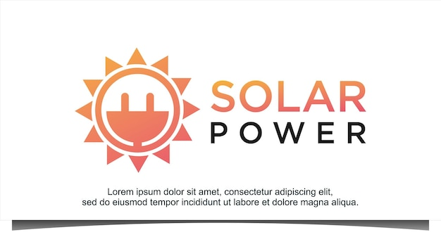 太陽光発電エネルギーロゴデザインベクトル