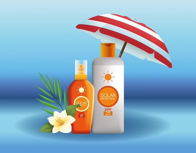 Солнцезащитные бутылки для продуктов летней рекламы