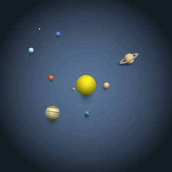 Solar system - 3d planets on orbits