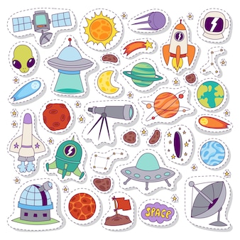 Solar system astronomy stickers vector set.
