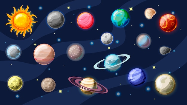 Solar system cartoon collection. planets, moons of earth, jupiter and other planet of solar system, with asteroids, sun and planet rings.