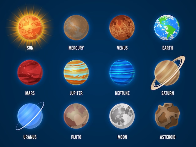 Solar system cartoon planets. cosmos planet galaxy space orbit sun moon jupiter mars venus earth neptune mercury universe set
