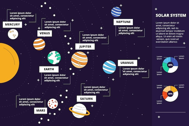 Solar system colorful infographic