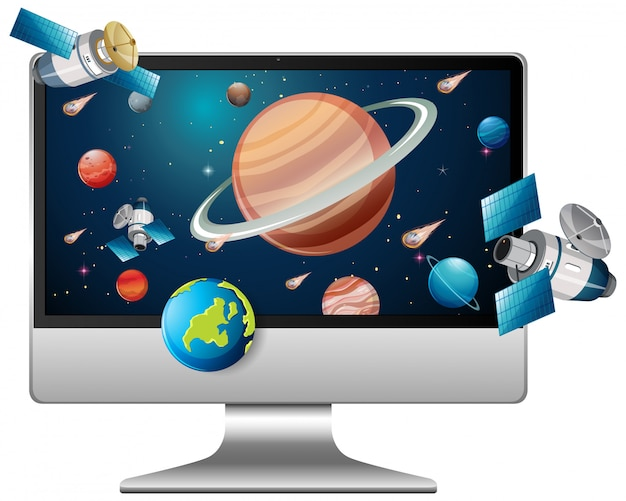 Solar system on computer background