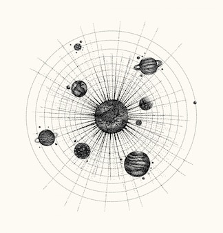 Solar system in dotwork style. planets in orbit.