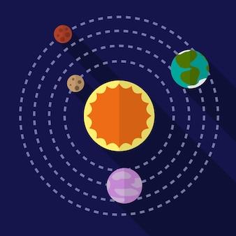 太陽系フラットアイコンイラスト孤立ベクトル記号記号