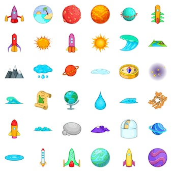 Solar system icons set, cartoon style