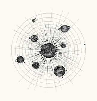 ドットワークスタイルのソーラーシステム。軌道上の惑星。