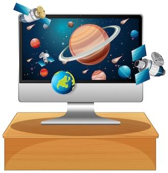 コンピューターのデスクトップ上のソーラーシステム