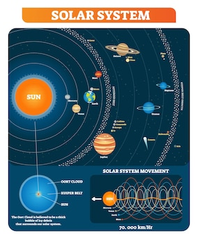 Solar system planets, sun, asteroid belt, kuiper belt and other main objects educational diagram poster.