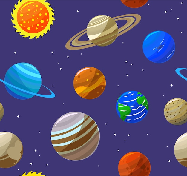 Solar system planets and sun background pattern