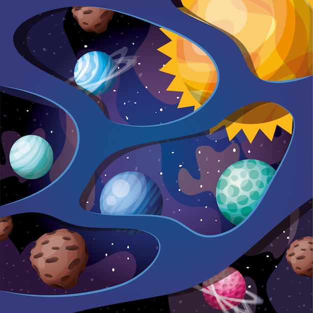 Solar system planets and sun