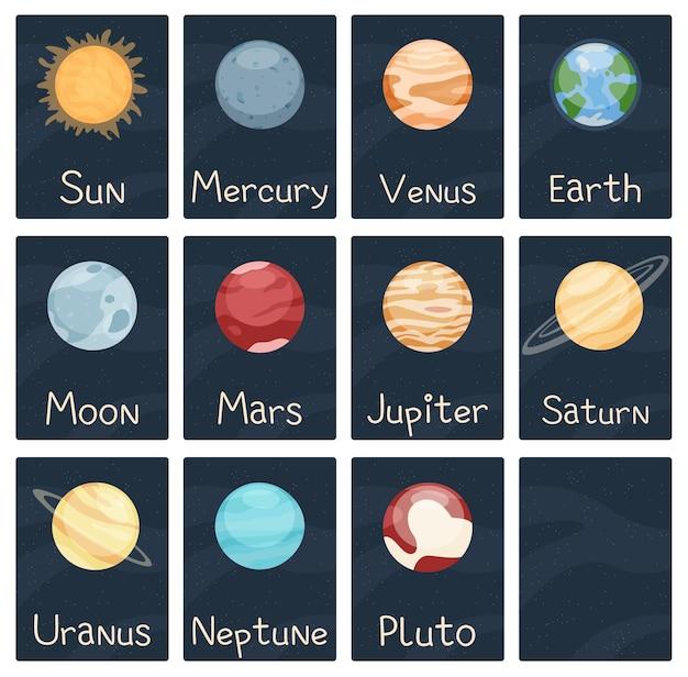 空白のカバーベクトルイラストと太陽系人気オブジェクトカード