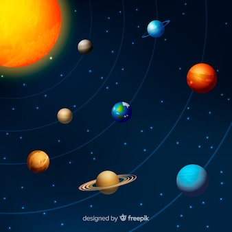 Solar system scheme with realistic design