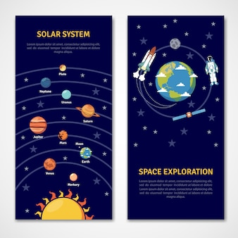 Solar system and space exploration banners