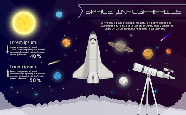 Solar system space shuttle infographic illustration.