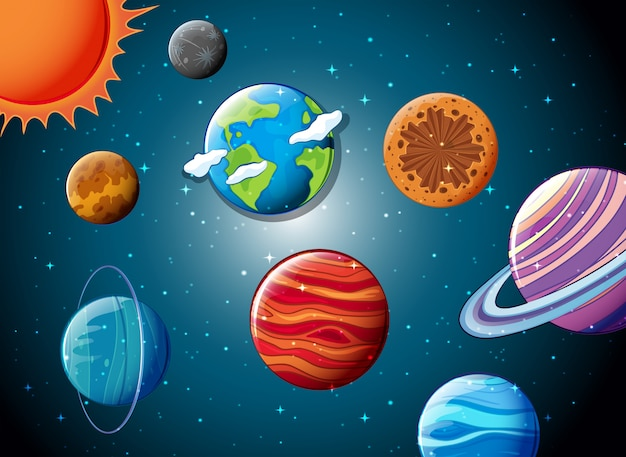 Solar system in the space