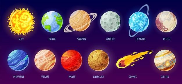 Солнечная система звезда комета солнце земля луна ртуть векторный набор