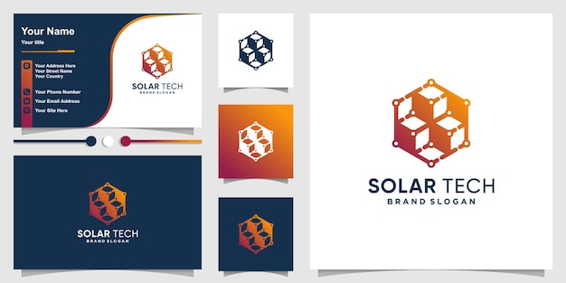 Solar tech logo template with modern silhouette concept and business card design premium vector