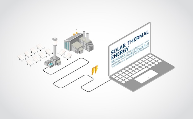Solar thermal energy, solar thermal power plant in isometric graphic