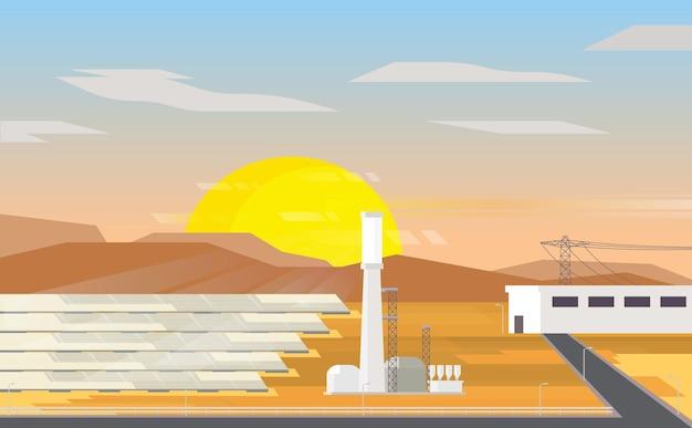 Солнечная тепловая энергия, солнечная тепловая электростанция с закатом