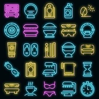 Solarium icon. outline solarium vector icon neon color on black