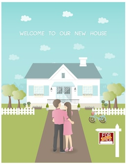 Sold house with couple holding each other