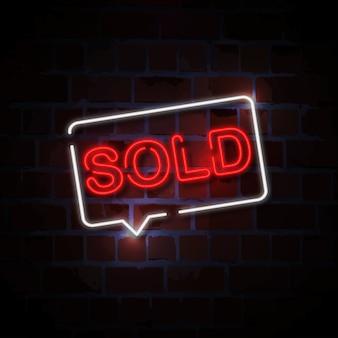 Sold neon sign illustration