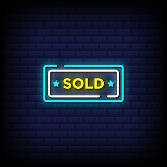Sold neon sign style text