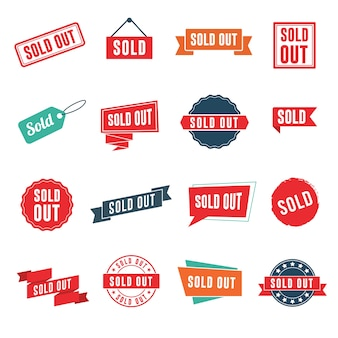 Sold out banners, labels, stamps, and signs