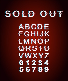Sold out glitch font template