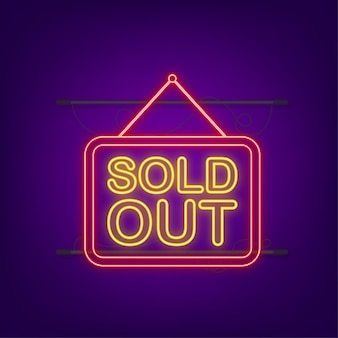 Sold out neon hanging sign on dark background. sign for door. vector illustration.