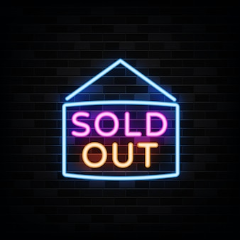 Sold out neon sign illustration