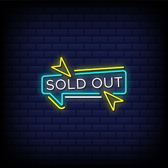 Sold out neon sign style text