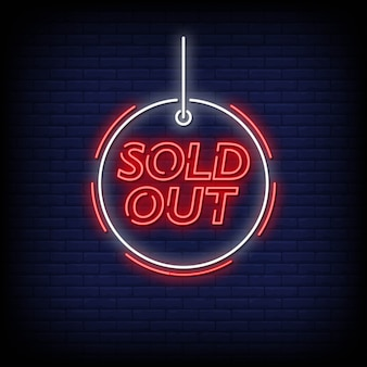 Sold out neon signs style text vector